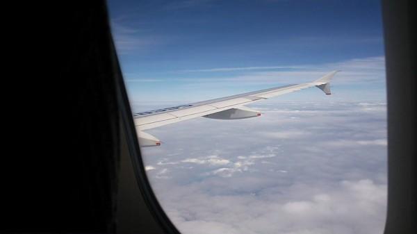 息子、初飛行機