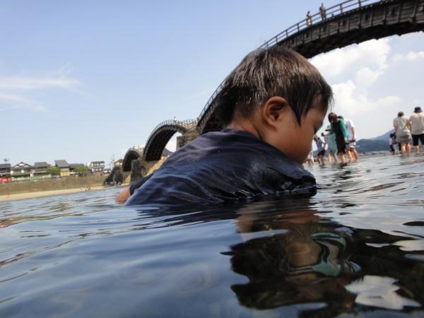 錦川 錦帯橋 水遊び
