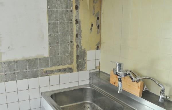 キッチン 壁 混合栓