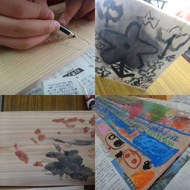 本日の教室板に絵を描くというお題でしたが、彫りだす子も!#絵画教室 #造形教室 #西東京市民会館