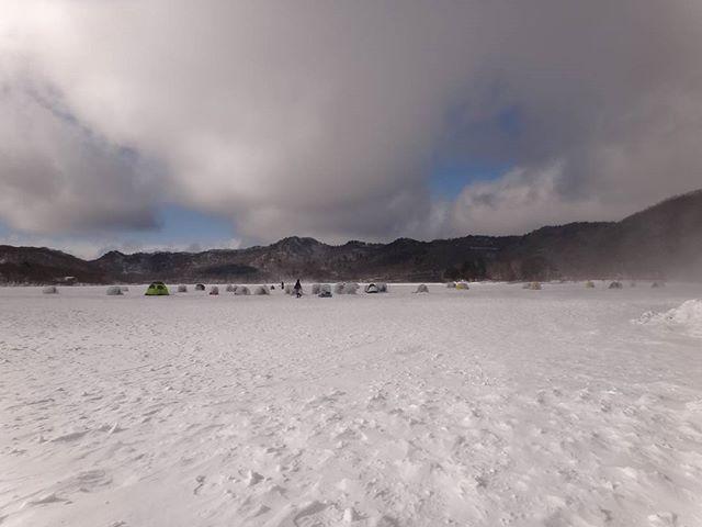 大沼はー8℃、強風で戦意喪失。#赤城山 #赤城沼 #赤城大沼 #雪遊び