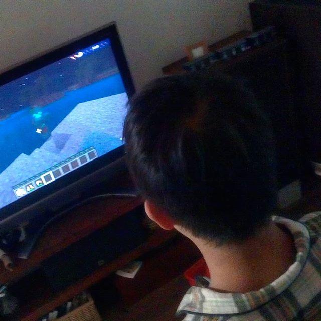 朝暗いうちからマイクラに興じる息子。目的無く穴を掘り、動物を撲殺、村人を襲い略奪、悪行の限りを尽くした後、ゾンビにやられてアイテムをすべて失うという、不毛なプレイの繰り返し。#早朝からゲーム #マイクラ #マインクラフト #minecraft