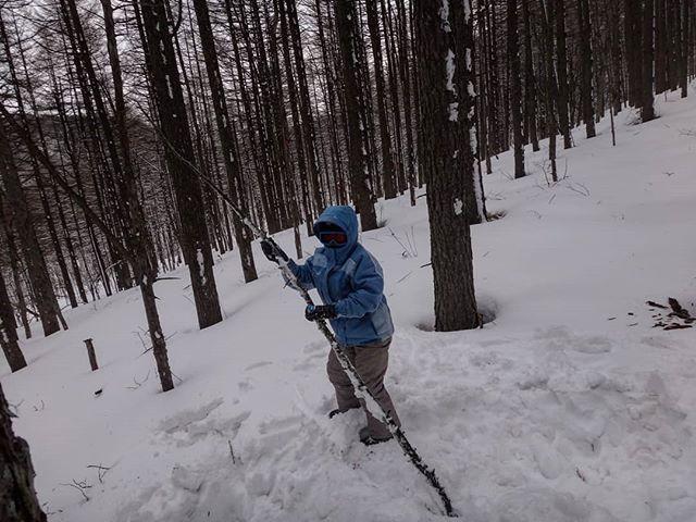 棒で威嚇されたら降参するしかないよ#湯の丸で雪遊び #湯の丸 #湯の丸スキー場 #湯の丸高原スキー場 #雪合戦 #親子でスキー