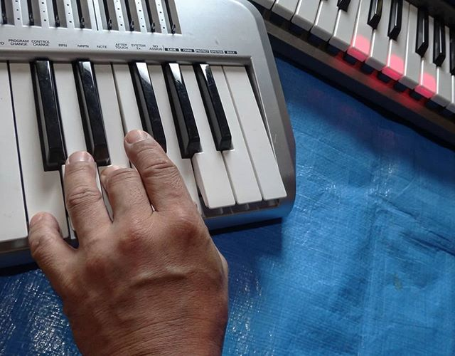 押さえたキーと同じキーが光れば大丈夫MIDIは30年ぶり#作品素材集め #作品制作中 #midikeyboard #edirol #lk65 #casio #midiキーボード #光ナビゲーション #光ナビゲーションキーボード