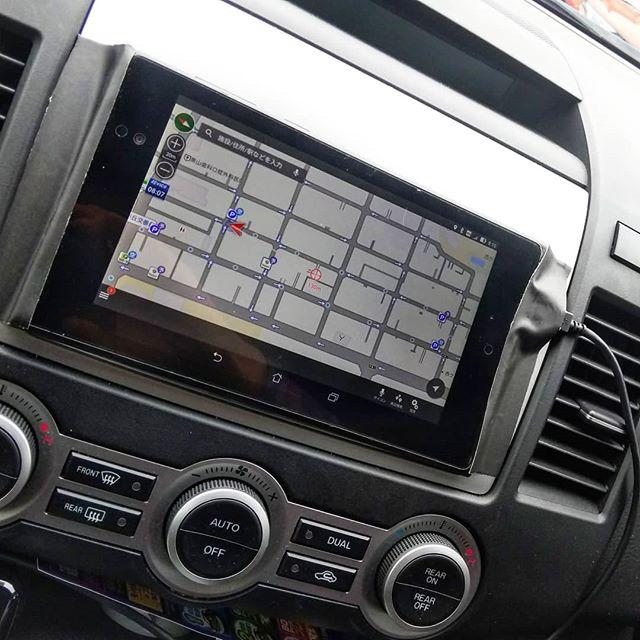 苦肉の策ナビ不調でタブレットをガムテープで貼り付け。ナビタイムが優秀すぎて、このままでもいいんじゃないかと思ってしまいます。#ナビ不調 #タブレットナビ #スマホナビ #ly3p #mazdampv #navitime #ナビタイム #ドライブサポーター