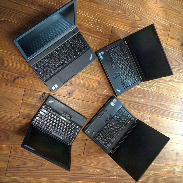 ThinkPad祭り!古い順からT42、X200、T430、W540、T42はIBM時代の製品。ず~っとThinkPad使ってましたが今は浮気してHPなのです。__#ThinkPad祭り #thinkpad #t42 #thinkpadt42 #t430 #thinkpadt430 #x200 #thinkpadx200 #w540 #thinkpadw540 #lenovo #ibm #ibmthinkpad__